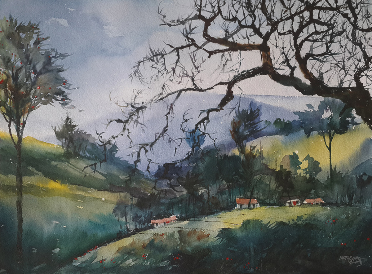 Munnar Days - 14 by Mopasang Valath, Impressionism Painting, Watercolor on Paper, Gray color