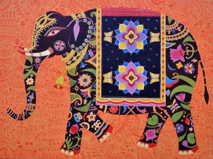 Royal Elephant by Bhaskar Lahiri, Traditional Painting, Acrylic on Canvas, Brown color