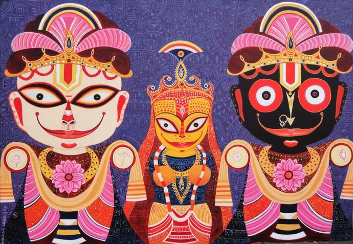 Triratna by Bhaskar Lahiri, Traditional Painting, Acrylic on Canvas, Brown color