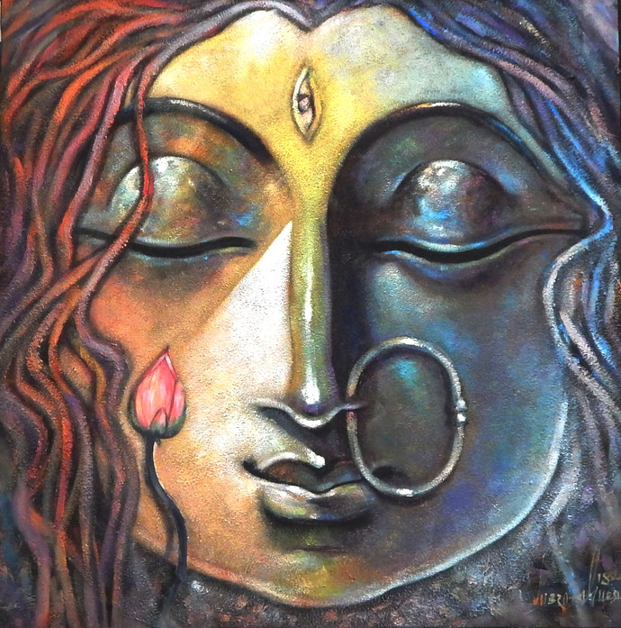 DEVI-II by Subrata Ghosh, Expressionism Painting, Acrylic on Canvas, Brown color