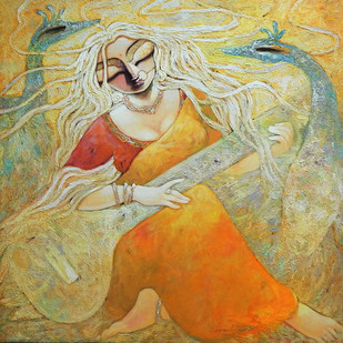 PARA by Subrata Ghosh, Expressionism Painting, Acrylic on Canvas, Beige color
