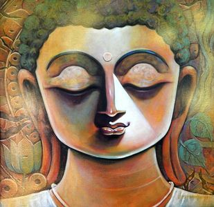 PEACE by Subrata Ghosh, Expressionism Painting, Acrylic on Canvas, Brown color