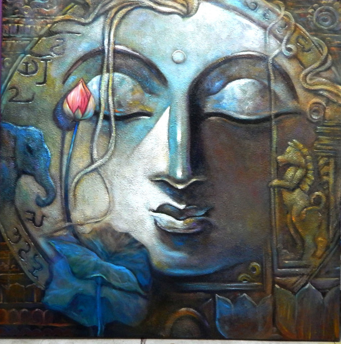 PEACE-II by Subrata Ghosh, Expressionism Painting, Acrylic on Canvas, Gray color