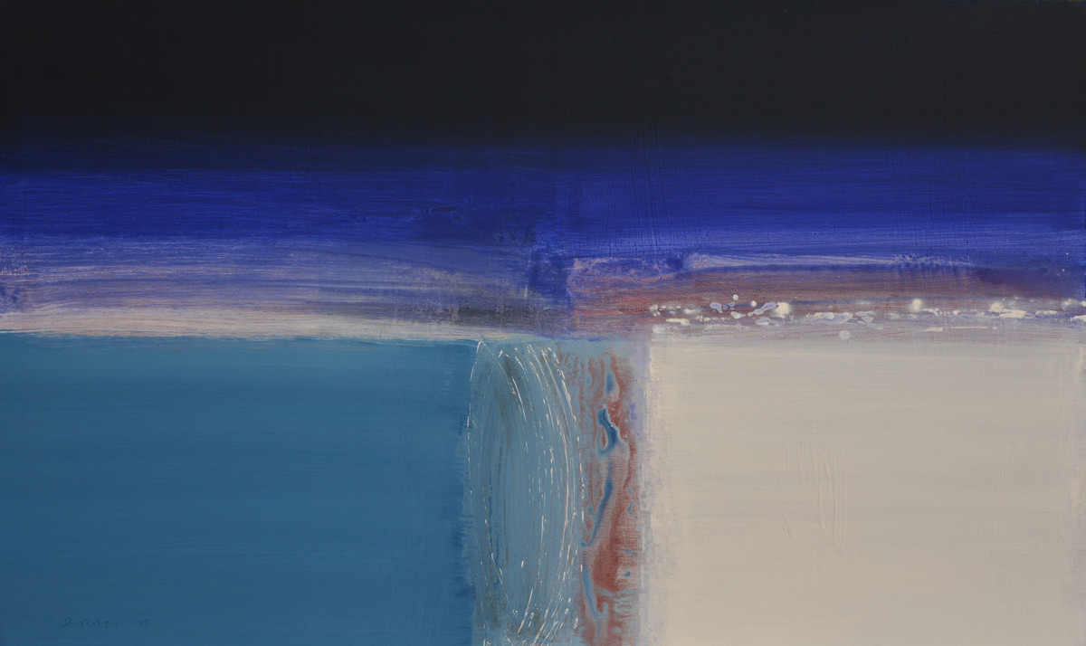 UNTITLED by Yogesh Patil, Abstract Painting, Acrylic on Canvas, Blue color
