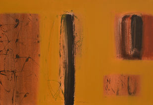 UNTITLED by Yogesh Patil, Abstract Painting, Acrylic on Canvas, Brown color