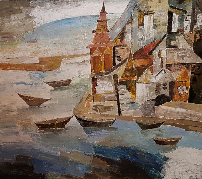 BANARAS by Ram Kumar, Expressionism Painting, Acrylic on Paper, Brown color