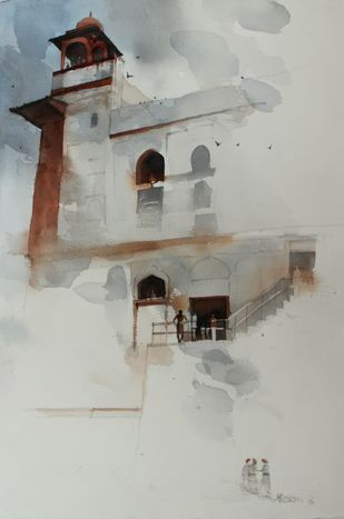 Dreamy past tense by Prashant Prabhu, Impressionism Painting, Watercolor on Paper, Gray color