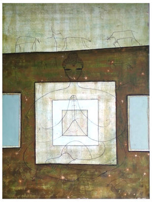 Buddha by Sushant Patil, Traditional Painting, Acrylic on Canvas, Brown color