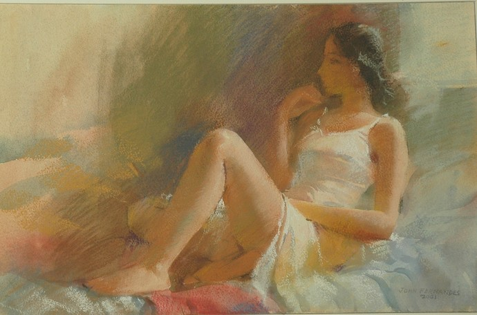 Morning Rays by John Fernandes, Expressionism Painting, Mixed Media on Board, Brown color