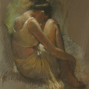Deep In Thought by John Fernandes, Expressionism Painting, Oil Pastel on Paper, Brown color