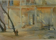 The Old House by John Fernandes, Impressionism Painting, Watercolor on Paper, Brown color
