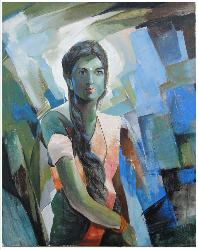 GIRL V by RANJAN KUMAR, Expressionism Painting, Acrylic on Canvas, Green color