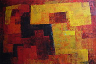 Untitled by Pradip Mazumdar, Abstract Painting, Acrylic on Canvas, Brown color