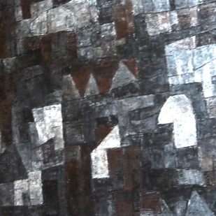 Untitled by Pradip Mazumdar, Abstract Painting, Acrylic on Canvas, Gray color