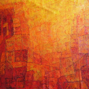 untitled by Pradip Mazumdar, Abstract Painting, Acrylic on Canvas, Red color