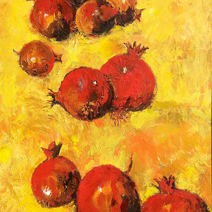 Still Life with Anar (Pomegranates) (Indian Summer)-IV Digital Print by Animesh Roy,Expressionism