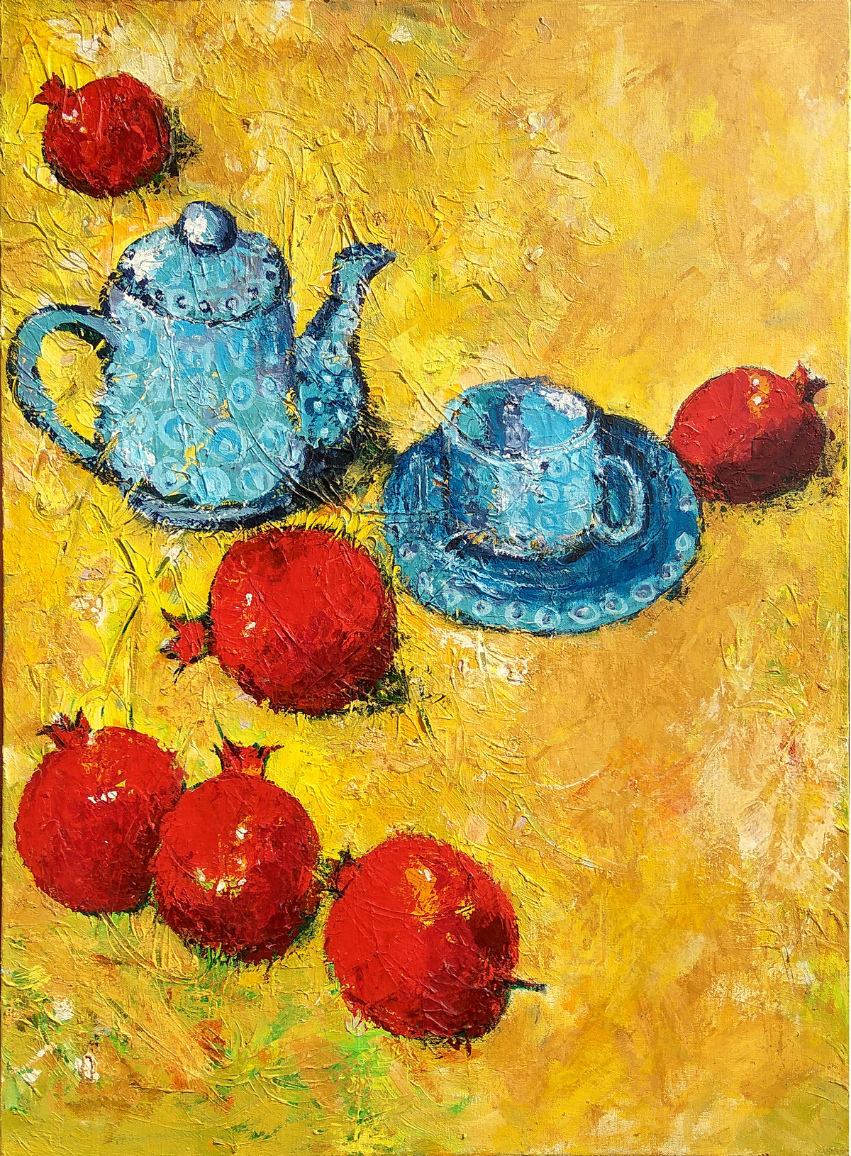 Still Life with Pomegranate & Tea Pot (Indian Summer)-III by Animesh Roy, Expressionism Painting, Acrylic on Canvas, Orange color