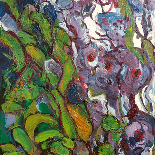 Orchids by Animesh Roy, Abstract Painting, Acrylic on Canvas, Green color