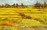 Landscape: Chhattisgarh-2 by Animesh Roy, Impressionism Painting, Oil on Canvas, Green color