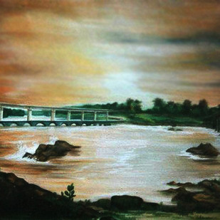 3 bridges by BANSI LAL KETKI, Impressionism Painting, Watercolor on Paper, Brown color