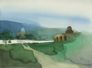 Negotiating for passage to His place by Prashant Prabhu, Impressionism Painting, Watercolor on Paper, Green color