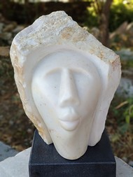 Head_2 by Amit Kumar Singh, Art Deco Sculpture | 3D, Marble, Brass & Jaisalmer Stone, Gray color