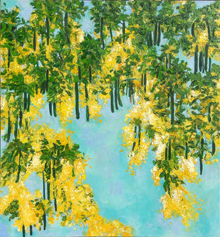 Blooming Amaltas by Animesh Roy, Painting, Oil on Linen, Green color