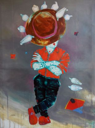 Passion of the childhood v by shiv kumar soni, Expressionism Painting, Acrylic on Canvas, Brown color