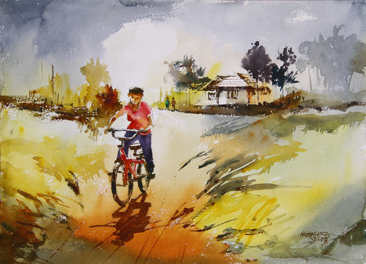Happy Holidays - 3 by Mopasang Valath, Impressionism Painting, Watercolor on Paper, Beige color