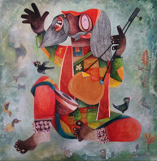Faquir 02 by Sekhar Basu, Traditional Painting, Tempera on Canvas Board, Brown color
