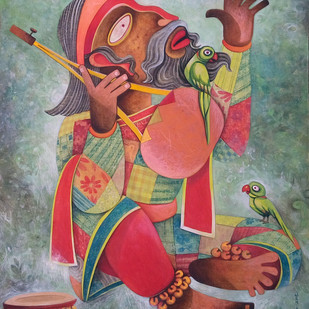 Faquir 03 by Sekhar Basu, Expressionism Painting, Tempera on Canvas Board, Brown color