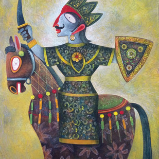 A Ride by Sekhar Basu, Expressionism Painting, Tempera on Canvas Board, Beige color