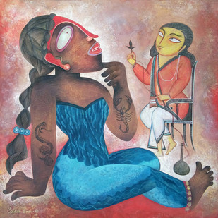A Wait by Sekhar Basu, Expressionism Painting, Tempera on Canvas Board, Brown color