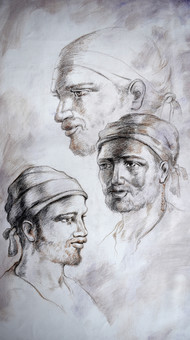 Indian Portrait01 by Kishore Pratim Biswas, Expressionism Drawing, Charcoal on Canvas, Gray color