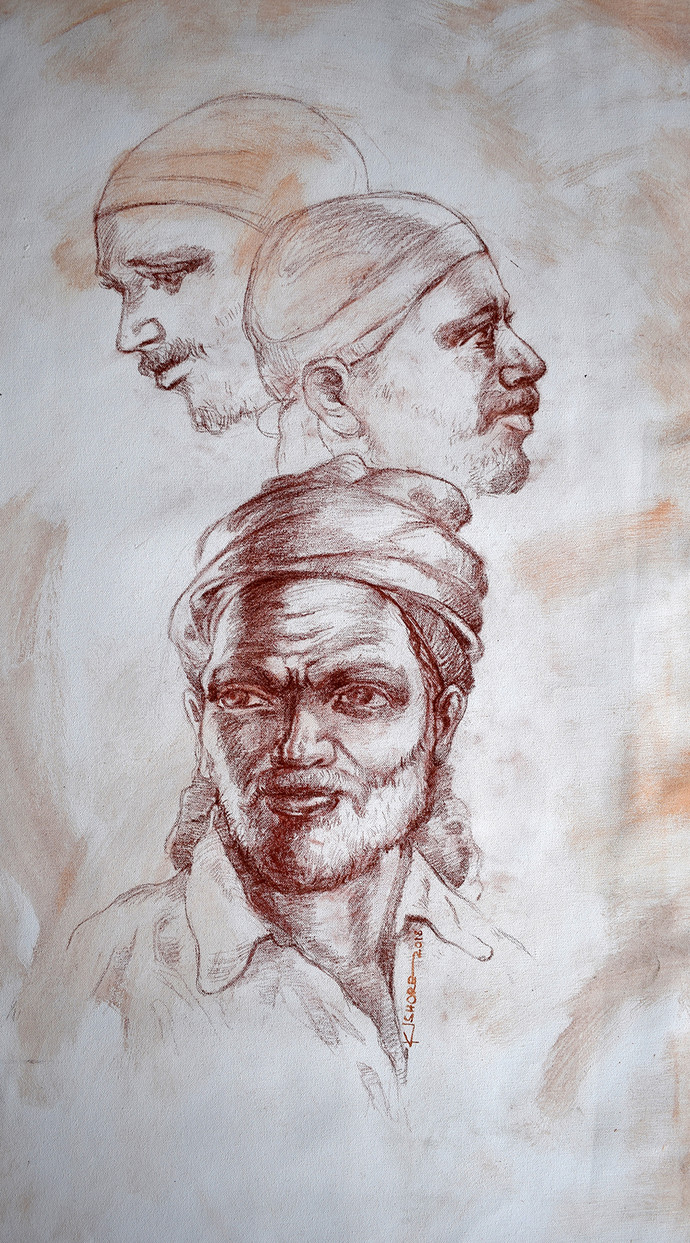 Indian Portrait02 by Kishore Pratim Biswas, Illustration Painting, Charcoal on Canvas, Gray color