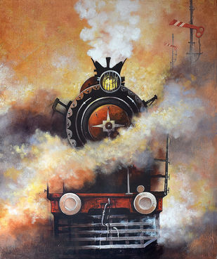 Nostalgia of Indian Steam Locomotives 02 by Kishore Pratim Biswas, Impressionism Painting, Acrylic on Canvas, Brown color