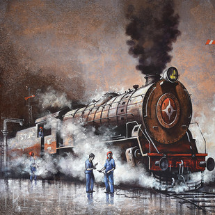 Nostalgia of Indian Steam Locomotives 18 by Kishore Pratim Biswas, Impressionism Painting, Acrylic on Canvas, Brown color