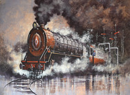 Nostalgia of Indian Steam Locomotives 08 by Kishore Pratim Biswas, Impressionism Painting, Acrylic on Canvas, Brown color