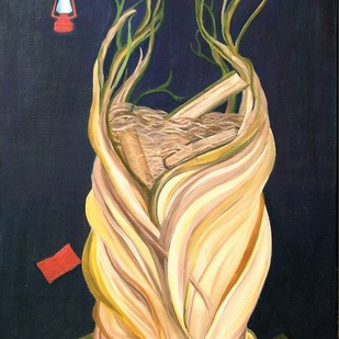 root of knowledge by Geetha Ramasesh, Expressionism Painting, Oil & Acrylic on Canvas, Blue color