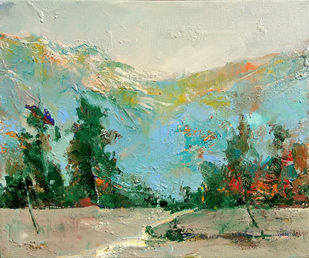 Himalaya (2) by Animesh Roy, Expressionism Painting, Oil on Canvas, Beige color