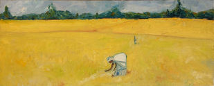 Rice Harvest (2) by Animesh Roy, Impressionism Painting, Oil on Canvas, Orange color