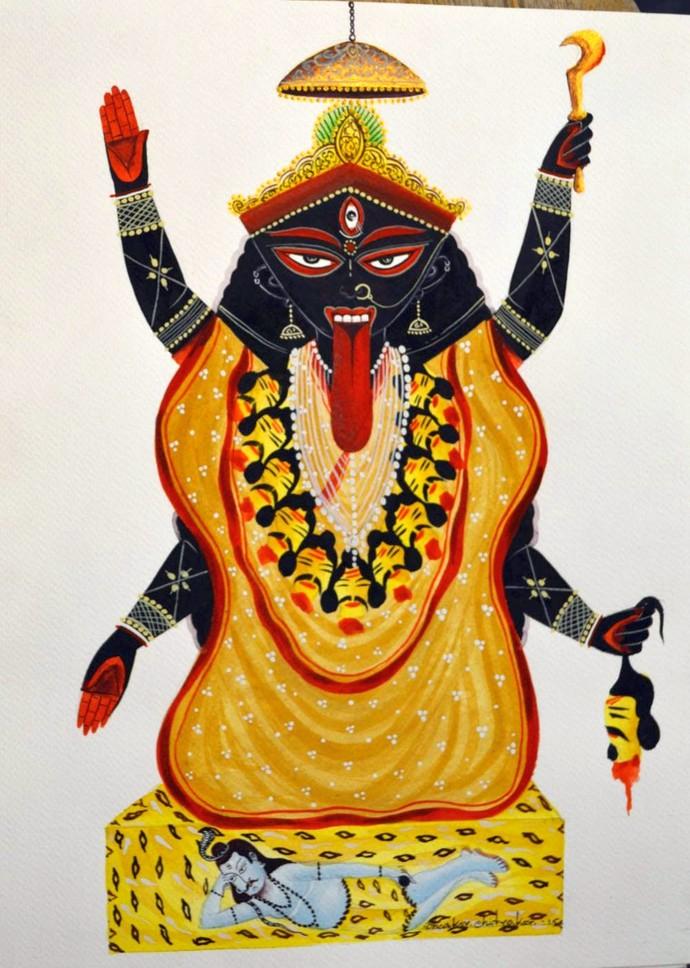 Maa Kaali by Bhaskar Chitrakar, Folk Painting, Natural colours on paper, Gray color