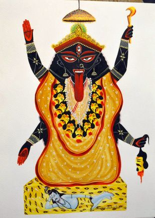 Maa Kaali by Bhaskar Chitrakar, Folk Painting, Natural colours on paper, Gray color