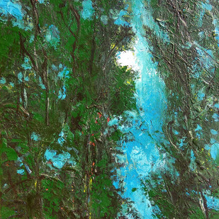 """रात ना जाय..."" by Animesh Roy, Expressionism Painting, Acrylic on Canvas, Green color"