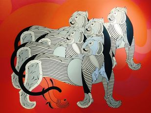 Untitled by D Jaya Prakash, Expressionism Painting, Acrylic on Canvas, Red color