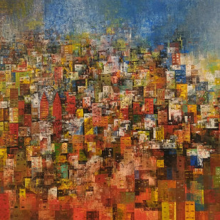 City of my dream_V by M Singh, Geometrical Painting, Acrylic on Canvas, Brown color
