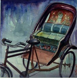 RIKSHAW by Ram Kumar Maheshwari, Impressionism Painting, Watercolor on Paper, Green color