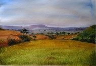 NATURE VIEW by Ram Kumar Maheshwari, Impressionism Painting, Watercolor on Paper, Green color