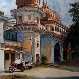 MOTI MAHAL GATE - I by Ram Kumar Maheshwari, Impressionism Painting, Watercolor on Paper, Brown color