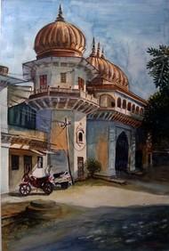 MOTI MAHAL GATE - I by Ram Kumar Maheshwari, Impressionism Painting, Watercolor on Paper, Brown color